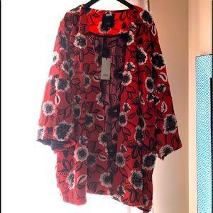 RIVER ISLAND appliqué lined kimono black red white